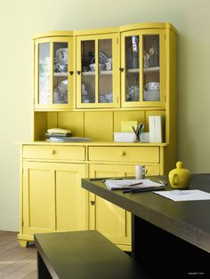 Yellow by Flexa Diy Furniture Projects, Upcycled Furniture, Cool Furniture, Furniture Stores, Interior Design Advice, Interior Inspiration, Vaisseliers Vintage, Yellow Painted Furniture, Yellow Dining Room