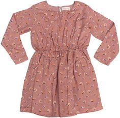 Simple Kids - oudroze jurk print - Oudroze jurk in een mooie print. Model met elastische taille, schuine steekzakjes afgewerkt met een gouden lurex boordje, knoopje op de rug. Losse voering voor de rok. Samenstelling: 100% viscose en voering 100% katoen.