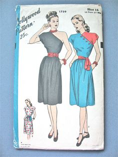 Hey, I found this really awesome Etsy listing at https://www.etsy.com/listing/234566226/uncut-40s-hollywood-1759-one-shoulder