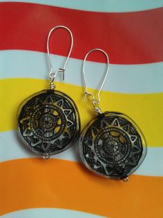 Vintage Lucite Black and White Sunshine Beaded Earrings ($22)