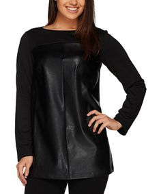 Look at this #zulilyfind! Black Faux Leather Ponte Tunic - Plus Too #zulilyfinds