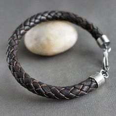 Mens Braided Leather Bracelet Sterling Silver Brown