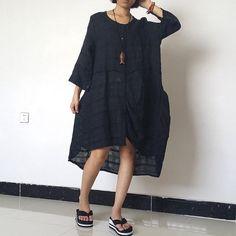 Women Linen Dress Shirt Dress Loose Fitting by loosedress2015
