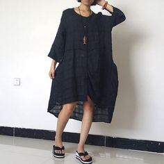 Women Linen Dress Shirt Dress Loose Fitting by loosedress2015