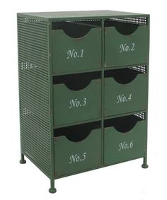Lend a touch of industrial-chic style to your decor with this handsome metal cabinet, showcasing a typographic motif and green finish. Product: Cabinet Construction Material: MetalColor: GreenFeatures: Six drawersTypographic motifDimensions: H x W x D Modern Furniture, Home Furniture, Simple Furniture, Accent Furniture, Furniture Ideas, Industrial Chic Style, Industrial Loft, Vintage Industrial, Industrial Design
