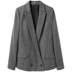 Chalayan Grey Line Long Tailored Tweed Jacket ($478) ❤ liked on Polyvore