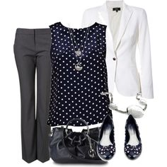 professional in polka dots by meganpearl on Polyvore featuring AX Paris, Philosophy di Alberta Ferretti, Kenneth Cole, polka dots, ballet flats, silver, gray, blazers, navy and circle