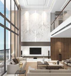 Mandarin Duplex (With images) High Ceiling Living Room Modern, Interior Design Living Room, Living Room Designs, Interior Modern, Home Fireplace, Living Room With Fireplace, Dream Home Design, House Design, Luxury Bedroom Design
