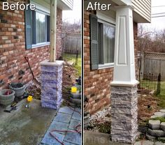 Porch Post Ideas | Stately appearance with tapered white trim on top of stacked stone column base