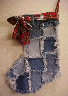 Denim+Frayed+Quitled+Handmade+Christmas+Stocking+One+of+a+Kind+Recycled+200925