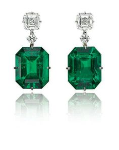 A pair of exceptional emerald and diamond earrings