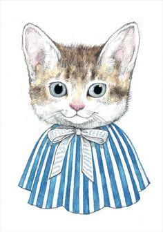 """""""Cat wearing a cape"""" Japanese「ケープをつけたねこ」 Higuchi Yuko Postcard Japanese ヒグチユウコ ポストカード Higuchi Yuko is a professional painter who lives in Tokyo. She graduated from Department of Oil Painting, Tama Art University or Tamabi, a private art university located in Tokyo, Japan. It is known as one of the top art schools in Japan. (2013)"""