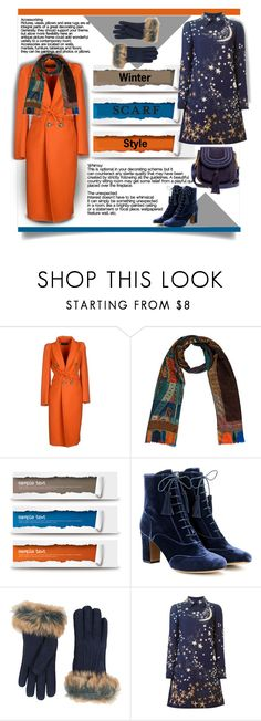 """""""Winter Scarf Style - Orange and Blue"""" by affton ❤ liked on Polyvore featuring Dsquared2, Tabitha Simmons, UGG, Valentino and Chloé"""