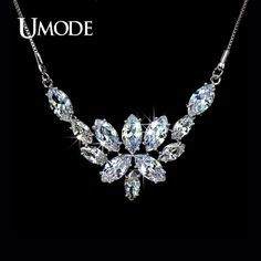 Blossoming of Love Marquise Cut Necklaces  Pendants For Women Fashion AAA Cubic Zirconia Jewelry Female AUN0022