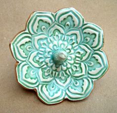Mint Green Lotus Ring Holder Bowl gold edged on Etsy, $16.00