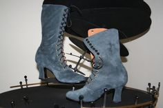 Victorian lace up Boots in  light Grey suede by VictorianBoots, $150.00