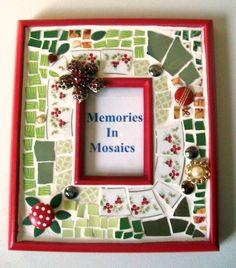 Christmas Mosaic Frame Red Green White by memoriesinmosaics, $28.00