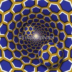 Два шарика с шаблоном шестиугольников движутся на вращающихся синий шестиугольников Золотой воронка — стоковая иллюстрация #108498744