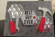 Stampin Up Masculine Birthday/Valentines/Fathers Day card featuring Nailed It!, Suite Sentiments & Build It Framelit Dies from the Occasions 2017 Catalog. Michelle Clarke Demonstrator