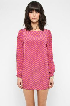 Zig Zag Dress in Magenta and Orange $37 at www.tobi.com