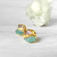 tourmaline earrings, pink tourmaline, apatite earrings, raw gemstone, gold earrings by jennleeluxe on Etsy https://www.etsy.com/listing/208265378/tourmaline-earrings-pink-tourmaline