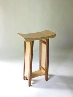 Bar Stool : Modern Zen Wood Bar Furniture- Handmade Custom Furniture, Kitchen Bar Stools- SHAPED COLLECTION
