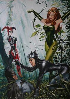 The Gotham City Sirens: Harley Quinn, Poison Ivy, and Catwoman vs Batman Gotham City, Arte Dc Comics, Superman, Batman Comic Art, Comic Book Heroes, Catwoman Comic, Batgirl, Joker Und Harley Quinn, Drawn Art