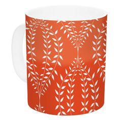 East Urban Home Laurel Leaf Orange by Anneline Sophia 11 oz. Floral Ceramic Coffee Mug