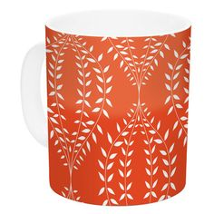 East Urban Home Laurel Leaf Orange by Anneline Sophia 11 oz. Floral Ceramic Coffee Mug