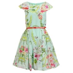 Ted Baker Dress, Mint Chadie Wallpaper Flower Volume Dress (9.745 RUB) ❤ liked on Polyvore featuring dresses, vestidos, mint, floral print dress, fitted dresses, mint dress, green floral dress and floral dress