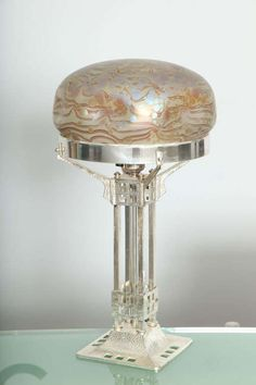 "Austrian Art Nouveau Loetz Table Lamp -- ca 1900 -- an Austrian Secession Art Nouveau silvered bronze & martelé ""Loetz"" table lamp attributed to Adolf Loos decorated with a beautiful ""phanomen gre"" pattern Loetz mushroom shade a top a silvered bronze and martelé base."