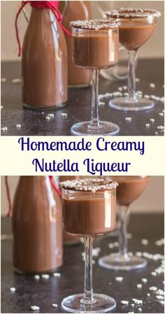 Homemade Creamy Nutella Liqueur - an easy delicious hazelnut cream liqueur. Cold or on the rocks, this is the perfect Christmas holiday drink or dessert. Super easy to make - try it this holiday season! Homemade Liqueur Recipes, Homemade Alcohol, Homemade Liquor, Homemade Baileys, Christmas Drinks, Holiday Drinks, Christmas Holiday, Christmas Recipes, Alcohol Drink Recipes