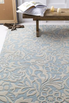 Modern Classic rug designed by @Candice Olson for Surya. Lovely lace texture created by hand carving the rug. (CAN-2046)