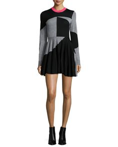 TC23Y McQ Alexander McQueen Colorblock Fit-and-Flare Skater Dress, Black/Gray Melange
