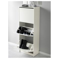 Reno BISSA Shoe cabinet with 3 compartments - white - IKEA Kitchen Remodeling Checklist: Are Y Shoe Cupboard, Shoe Storage Cabinet, Storage Cabinets, Shoe Cabinets, Brusali, Hemnes, Ikea Bissa, Ikea Family, Footlocker