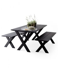Updated Picnic Table. Flat black or maybe a dark slate grey. Better in shaded area because of fading.