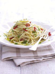 """The classic """"Olio, aglio & peperoncio""""  Spaghetti with olive oil, chilli and garlic."""