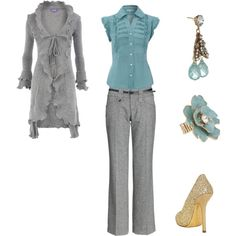 Ruffle Cardigan in Grey with Teal Accents