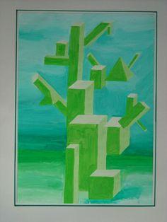Quadergebilde - Deckfarben  -  räuml. Gestalten
