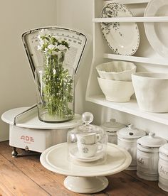 Loving this old scale with the white dishes Farmhouse Style, Farmhouse Decor, Romantic Kitchen, White Dishes, Post And Beam, Vintage Dishes, Cottage Homes, Sweet Home, Shabby Chic