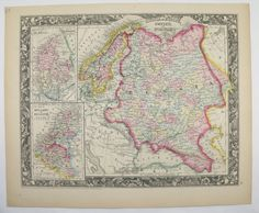 Antique Russia Map Sweden Map Norway Vintage Map 1860 Mitchell Map Scandinavia Map Gift Under 100 Anniversary Gift for Home Travel Map by OldMapsandPrints on Etsy