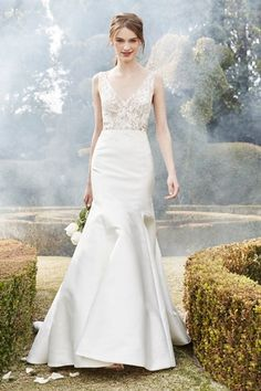 V-Neck Fit and Flare Wedding Dress with Natural Waist in Silk Taffeta. Bridal Gown Style Number:33363326