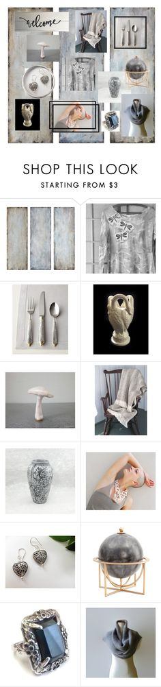 """""""Welcome to My Workd"""" by inspiredbyten on Polyvore featuring interior, interiors, interior design, home, home decor, interior decorating, Uttermost, Yamazaki, etsy and gray"""