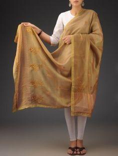 Olive Green Chanderi  Phool Patti Chikankari Embroidered Dupatta