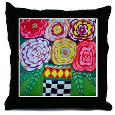 Roses in black and white courtly checks vase Throw> Flower Home Decor> Heather Galler Art