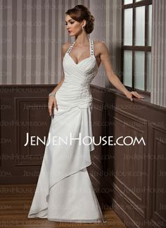 Wedding Dresses - $148.79 - Sheath/Column Halter Floor-Length Chiffon Satin Wedding Dresses With Ruffle Lace Beadwork Sequins (002012582) http://jenjenhouse.com/Sheath-Column-Halter-Floor-Length-Chiffon-Satin-Wedding-Dresses-With-Ruffle-Lace-Beadwork-Sequins-002012582-g12582
