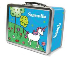 Our personalized Magical Unicorn Lunch Box is a fun and functional way for your child to carry their lunch or other personal treasures. Girls Lunch Boxes, Tin Lunch Boxes, Kids Lunch Bags, Personalized Stickers, Personalised Box, Kindergarten School Supplies, Unicorn Books, Vintage Birthday Parties, Magical Unicorn