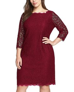 Nemidor Women's 3/4 Sleeves Plus Size Cocktail Party Midi Lace Dress >>> Trust me, this is great! Click the image. : Trendy plus size clothing
