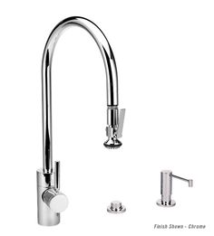 Waterstone 3pc. Contemporary Pull Down Faucet Suite 5700-3 | Extended Reach Pull Down Faucet, Soap Lotion Dispenser, Air Switch