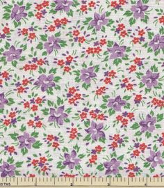 Vtg Feedsack  27x36 Small Purple and Red Floral